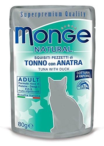 Monge, Natural - Cibo Per Gatti, Pezzetti di Tonno con Anatra, 80 grammi, 1 Bustina
