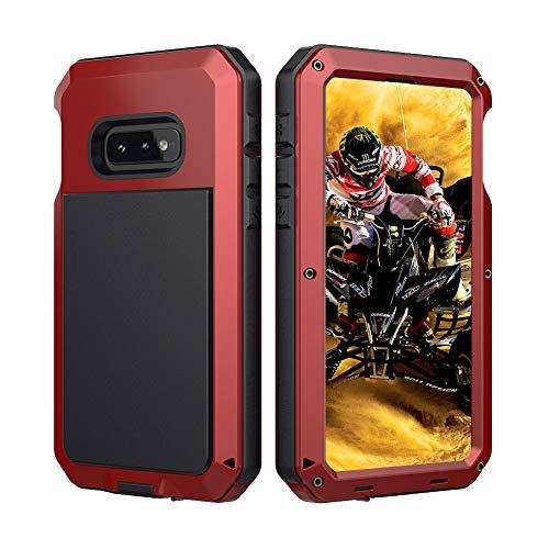 Beeasy Samsung Galaxy S10e Hülle,360 Grad Outdoor Handyhülle mit integriertem Bildschirmschutz Case Schutzhülle Robust Cover Armor Schutzschicht Fallschutz Hybrid Schlagfest Stoßfest Kratzfest,Rot