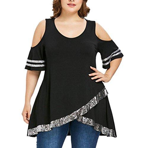 3b71884c25f78 ESAILQ Damen T Shirt Damen Sommer Bluse Damen Weste Tank Top Crop Lose  Blusen Große Größe Mode 2018(L
