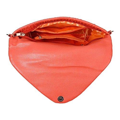 BMC unico in finta pelle busta a quadrato Circle Fashion frizione Mandarino Arancione