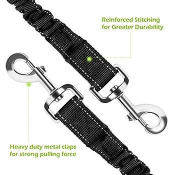 Pecute Hundeleine Doppelleine 2 Hunde Reflektierende Elastische Nylonband 1.6 M Schwarz 10