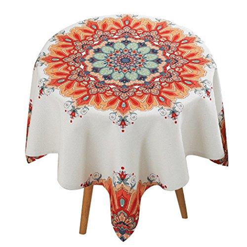 Nappe ronde de table basse orange fleurs géométriques carrés de nappes de restaurant frais maison ( Size : 85*85cm )