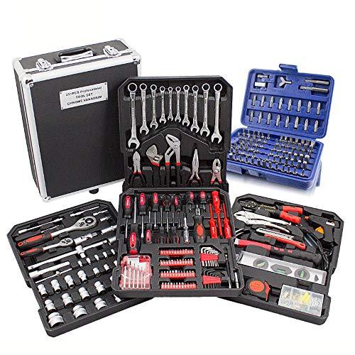BITUXX® 499-Teiliges Werkzeugkofferset Werkzeugkasten Werkzeugbox Werkzeugkiste Knarrenkasten Werkzeugtrolley Nusskasten Ratschenkasten Ratschenkoffer Ratsche Ringschlüssel