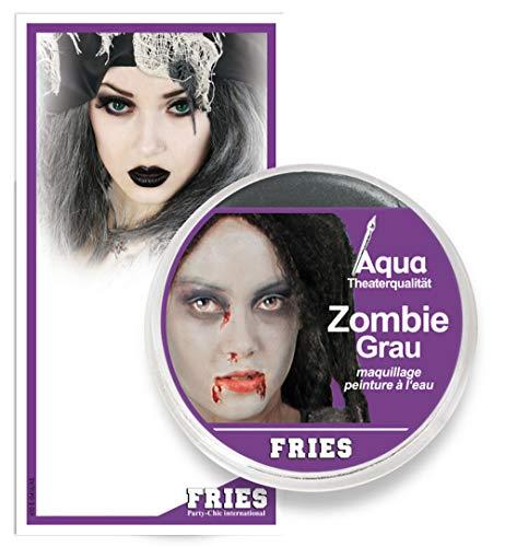 PARTY DISCOUNT ® Zombiegrau Aqua Schminke Halloween Theater-Schminke Zombie Grau 15g Tiegel