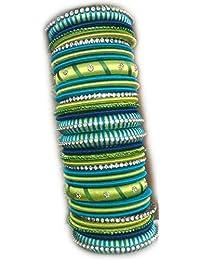 ACT Designer Silk Thread Bangles Parrot Green, Sky Blue & Blue Colour, A Set Of 32 Bangles (Size : 2x6) ACT573