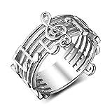 Outtybrave Silberring mit breitem Band Musiknotenblatt mit Schlüsseln, klassischer Schlichter Schmuck Silber Silber 17mm