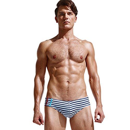 Herrenbekleidung Sommer Shorts Mode beiläufige Sporthosen JYJMHerren Badehose Beachwear Unterwäsche Surf Boardshorts Flacher dreieckiger gestreifter StrandkofferHotpants Shorts (XXL, Blau)