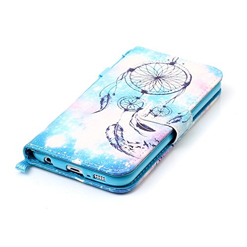 Cover Galaxy S6 Custodia , Retro Diamante strass Design Con Cinturino da Polso Magnetico Snap-on Book style Internamente Silicone TPU Custodie Case in pelle Protettiva Flip Per Samsung Galaxy S6 SM-G9 Modello 27