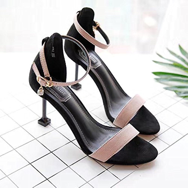 Sandalias de tacón alto y estilo de moda de mujer de tacón alto, color de albaricoque, treinta y ocho