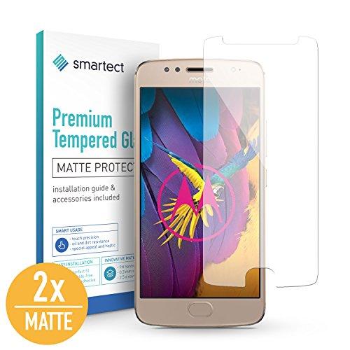 SmarTect [2X Mat Protector de Pantalla de Cristal Templado para Motorola Moto G5s Lámina Protectora Ultrafina de 0,3mm | Vidrio Robusto con Dureza 9H y Antihuellas Dactilares