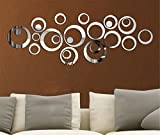 Chambre A Coucher Best Deals - Mercurymall? Miroir autocollant autocollant 3D design moderne conception future metal surface decoration murale vignette salon chambre a coucher (Miroir argent)