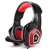 Gaming Headset RGB beleuchteter Computer Kopfhörer Kabelgebundene Ohrhörer Subwoofer Headset E-Sports Zubehör Sound Erweiterung Ausrüstung mit Mikrofon für PC,Smart Phones,Tablets (Rot)