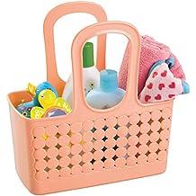 mDesign - Bolsa multiuso, para el cuarto del bebé; guarda pañales, toallitas, talco - Coral