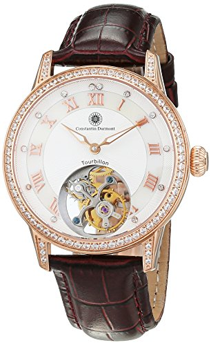 Constantin Durmont Women's Quartz Watch with Tourbillon Abington Analogue Hand Winding Leather CD ABTL LT Rgrgcrys WH