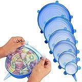 Tapas elásticas de silicona (6 unidades) – varios tamaños de cubiertas de ahorro de alimentos reutilizables y duraderas y ampliables para mantener los alimentos frescos azul