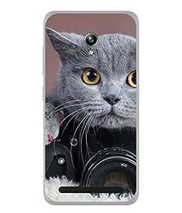 PrintVisa Designer Back Case Cover for Asus Zenfone Go ZC500TG (5 Inches) (Cute Cat Practising Photography)