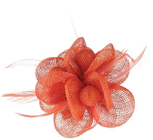 Lukis Mini Hut Damen Fascinator Haar Clip Haarschmuck Haarspange für Kostüm Karneval Fasching Durchmesser 9cm Orange