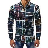 Hemd Sannysis Herren Slim Fit Hemden Bedrucktes Freizeit Businesshemd Printed Bluse Lässige Langarm Dünne Poloshirt Anzug Tops