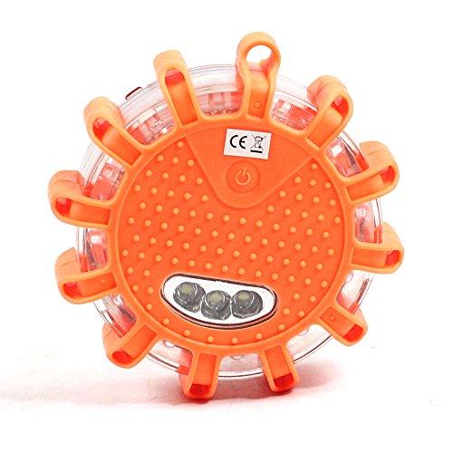 LED Batterie Warnleuchte Warnblinkleuchte mit Magnet und 12LEDs für Auto Notfall Pannenhilfe (orange) (Orange-licht-auto)