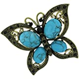 Brooches Store Large Turquoise & Black Crystal Antique Butterfly Broochá