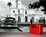Vlies Fototapete - Oldtimer Kuba - schwarz weiss - 310x200 cm - inklusive Kleister - Tapetenkleister – Bild auf Tapete – Bildtapete – Foto auf Tapeten – Wand – Wandtapete – Vliestapete – Wanddeko - Design