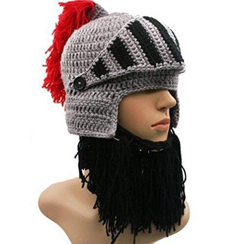 Demarkt Lustige Hüte Römische Ritterhelm Mütze Bartmütze Gestrickte Mütze Wollmütze Bart Beanie Strickmütze
