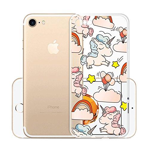Per iPhone8(2017) Custodia ,Per iPhone7(2016) Custodia ,ZXLZKQ Rosa Gatto Ragazza Trasparente Morbido TPU Silicone Coperchio Skin Cover Bumper Protezione Case iPhone8(2017) / iPhone7(2016) WM111