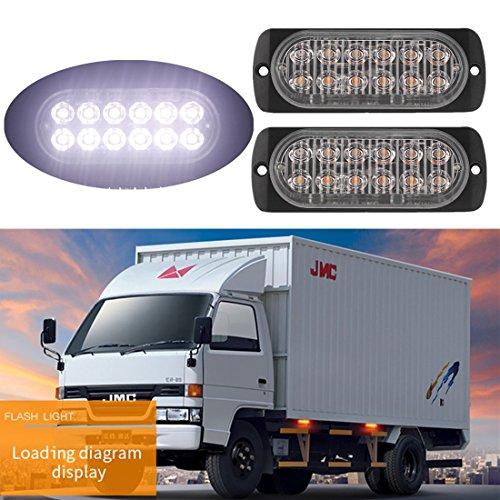 FEZZ 2pcs Auto Feux Stroboscopique 12 LED Lampe Pénétrations Alarme Urgence Strobe Ambre pour Voiture Camion Remorque Caravane Véhicule