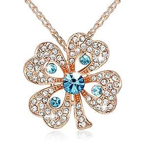 GoSparking Aquamarine blu di cristallo 18K Rosa ha placcato la collana della lega Quadrifoglio Ciondolo con cristallo austriaco per le donne