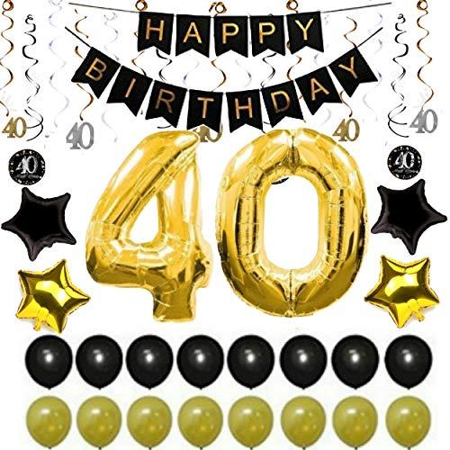 Uncommon Laundry Ballons zum 40. Geburtstag, Partyzubehör für 40 Jahre, Happy Birthday Banner, 38 Zoll 40 Gold Zahlenballons, hängende Wirbel, 36 Stück