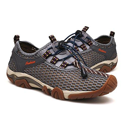 Eagsouni Hommes Respirante Mesh Water Shoes Séchage Rapide Sport Chaussures Aquatiques Plage Chaussons Gris