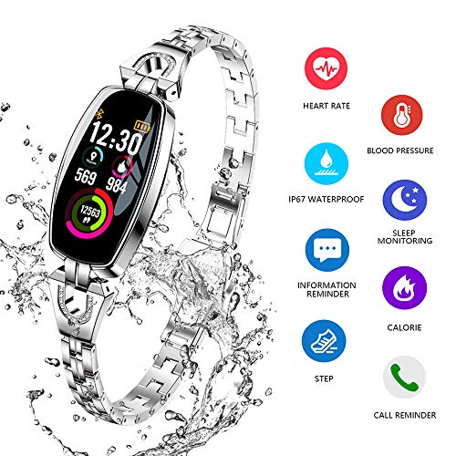 ydkj H8 Smart Armband Damen, Fitness Tracker Armband Frauen Smartband mit Pulsmesser Blutdruck Herzfrequenz Schlafmonitor Schrittzähler Wasserdicht IP67 Farbbildschirm Android iOS Handy (Silber) Samsung Multi-system