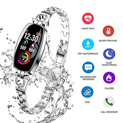ydkj H8 Smart Armband Damen, Fitness Tracker Armband Frauen Smartband mit Pulsmesser Blutdruck Herzfrequenz Schlafmonitor Schrittzähler Wasserdicht IP67 Farbbildschirm Android iOS Handy (Silber)