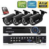 FLOUREON Kit de Surveillance 8CH AHD 1080N DVR CCTV Vidéo Enregistreur de Sécurité avec 4 Caméras 960P 1.3MP 2000TVL - P2P/Sortie HDMI/Détection de Mouvement - 1To Disque Dur Inclus