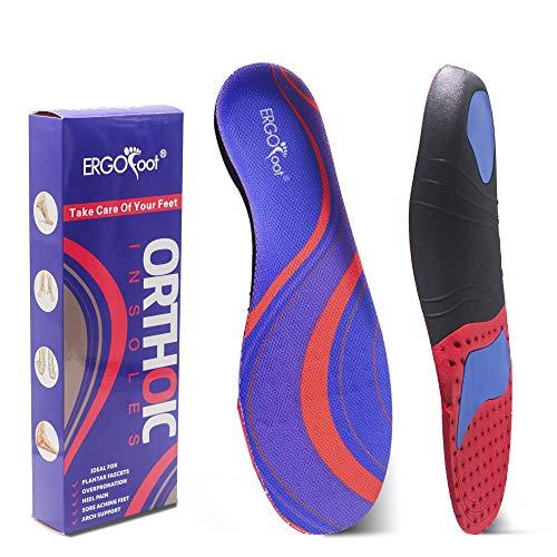 Orthetische Einlegesohlen High Arch Support Injection für flache Füße by ERGOfoot, Full Foot oder Half Foot Comfort Arch Support Einlegesohlen(Damen & Herren 41-43) -