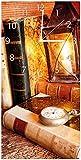 Wallario Design Wanduhr Antike Laterne mit Kerze, Alten Büchern und Taschenuhr aus Acrylglas, Größe 30 x 60 cm, weiße Zeiger
