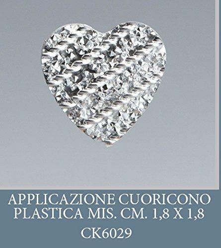 Lot 50 pièces, Bonbonnière application plastique Forme de Coeur, dimension cm 1,8 pour marque-place, composition Confetti. (ck6029)
