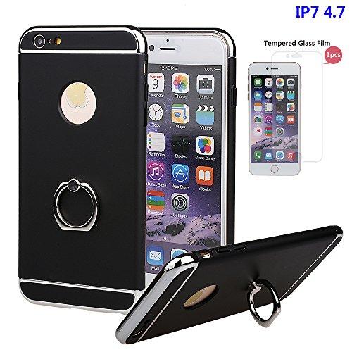 """xhorizon FM8 3 in 1 Ultra Dünn Hart Schützend Stilvoll Case für iPhone 7 [4.7""""] mit 360 Grad Drehbar Ring Ständer (Pink) Schwarz Mit einem 9H gehärtetem Glasfilm"""