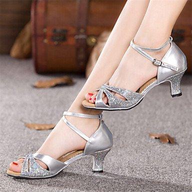 Dance Shoes Quietness Ruhe @ Damen Tanzschuhe Latin Patent Leder Chunky Ferse blau/rot/Silber/Gold, rot - 4