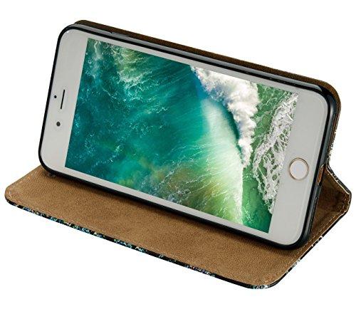 iPhone 8 Plus Hülle,iPhone 7 Plus Hülle,SainCat PU Leder Brieftasche Hülle im BookStyle Wallet Case Lederhülle Folio 3D Relief Schutzhülle Muster Ledertasche Hülle Bumper Handytasche Skin Schale Soft  Schädel