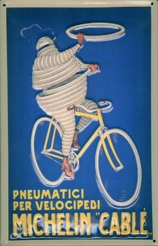 Blechschild Nostalgieschild Michelin Cable Reifen Fahrrad Schild retro Werbeschild (Vintage Fahrrad Kennzeichen)