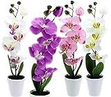 GYD Deko - Orchideen Kunstpflanzen Rispen mit Topf ca 38cm (weiß/lila)