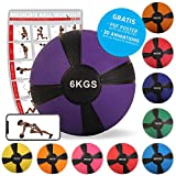 POWRX Médecine Ball 1 kg, 2 kg, 3 kg, 4 kg, 5 kg, 6 kg, 7 kg, 8 kg, 9 kg, 10 kg de différentes Couleurs (6 kg Violet)