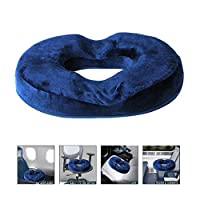 Seat Cushion Memory Foam Pain Relief Donut Pad for Men Women Car Office Indoor Home Bedroom Coccyx Sciatica Pregnancy (Blue)