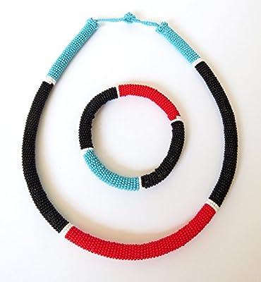 Parure collier et bracelet en perles Sud Africain Zoulou - Bleu/Rouge/Noir