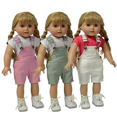 The New York Doll Collection Set aus 3 Twill Overalls: Rosa, Grau und Weiß