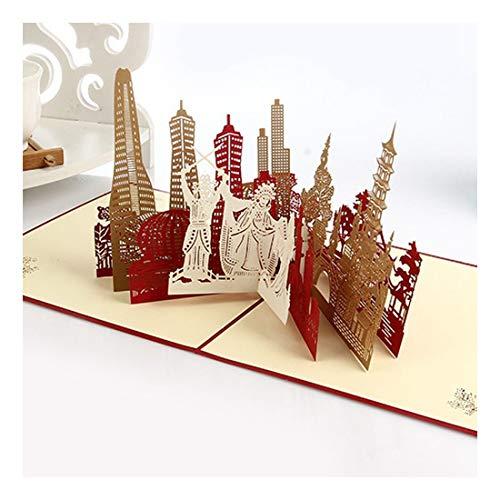 ZHOUBIN 2 fogli/set Carving and Hollowing Out 3D Cards/Greeting Cards/Regali di Natale Capodanno/Benedizioni di compleanno/Oriental Architectural Silhouette