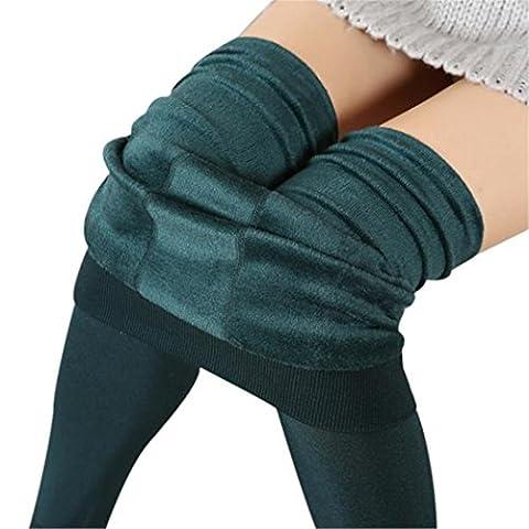 Femmes d'hiver épais molleton chaud Jambières doublées, Femmes Sexy Pantalon extensible thermique (Vert)