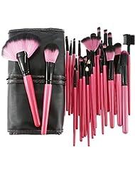 Abody 32pcs Pinceaux de maquillage pour le visage Professionnelle kit de brosses cosmétiques + Housse Sac (Rouge Rose)