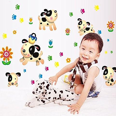 Happy Dogs y flores hojas adhesivo de pared Casa adhesivo extraíble Salón pintado dormitorio cocina Lienzo PVC Murales de incienso ventana puerta decoración + 3d Frog Pegatina para coche regalo